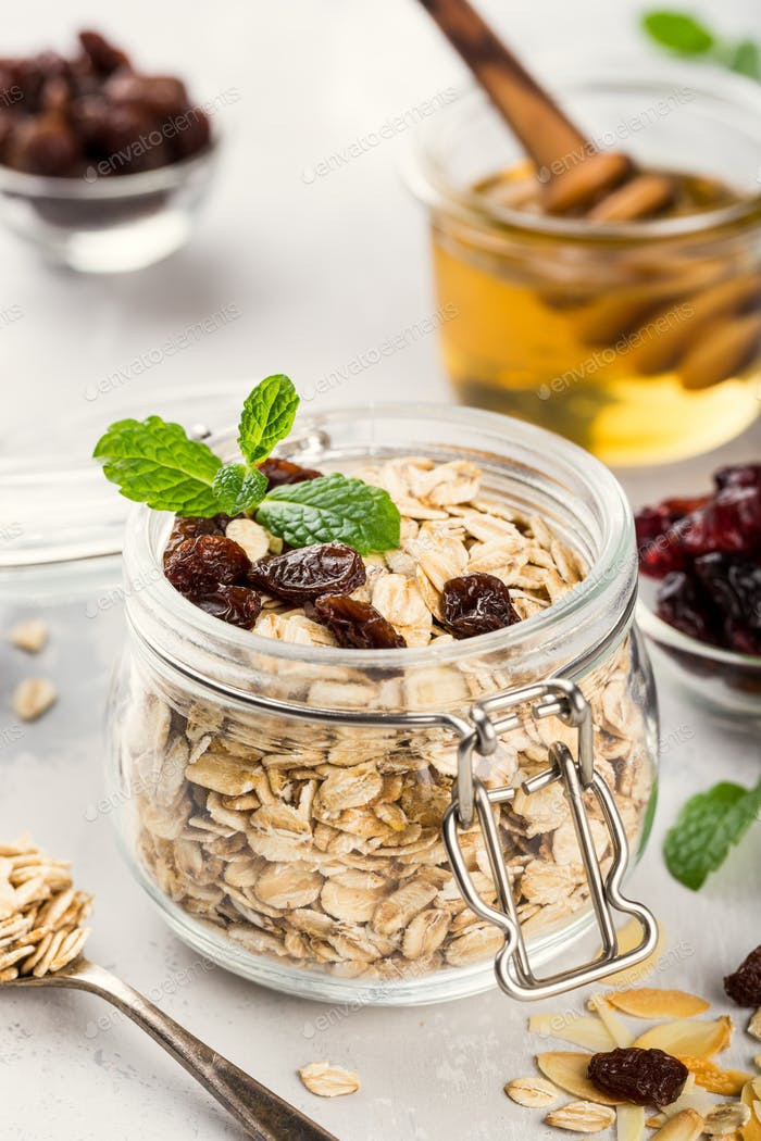 Oat flakes in glass jar