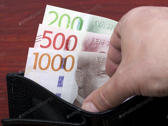 Swedish krona in the black wallet
