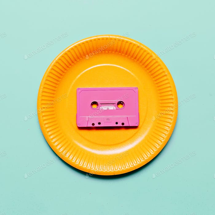 Audio cassette. Retro vibes Minimal art idea