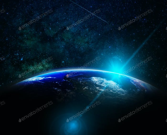 Part of earth with sun rise and lens flare over the Milky Way background,