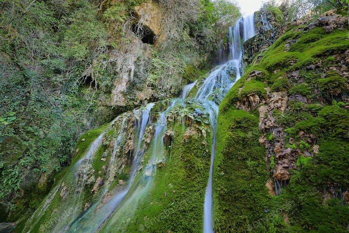 Waterfall in Orbaneja del Castillo, Spain
