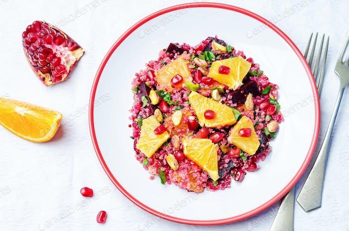 Quinoa chilantro beet pistachio pomegranate salad