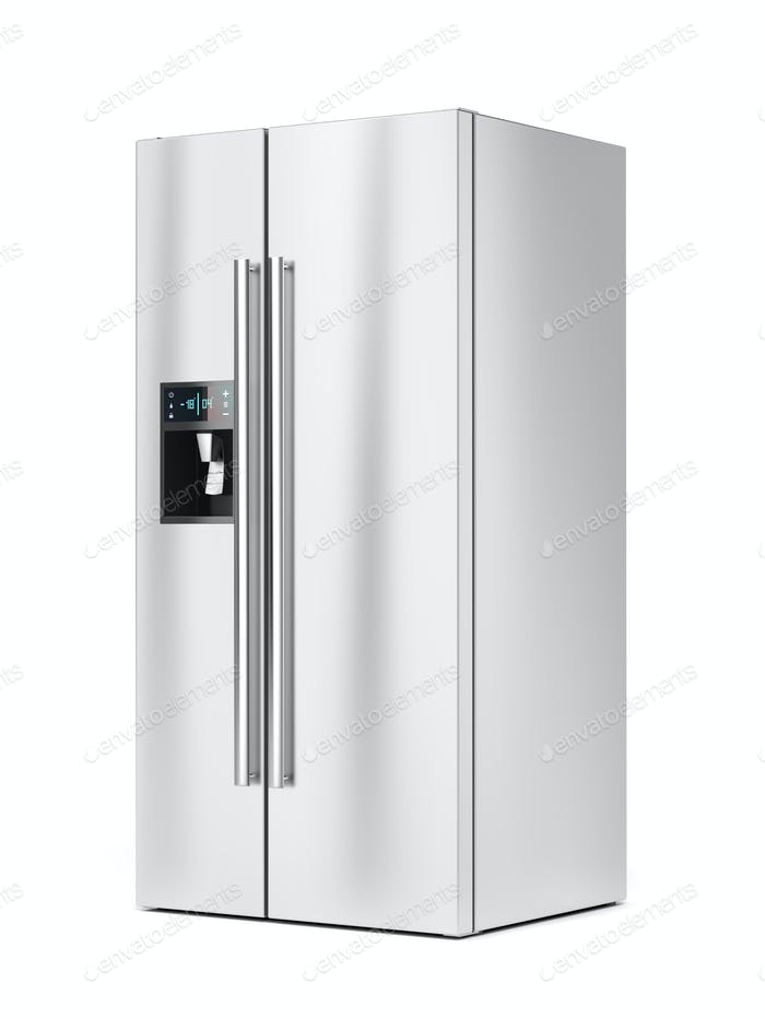 Side-by-side fridge on white background