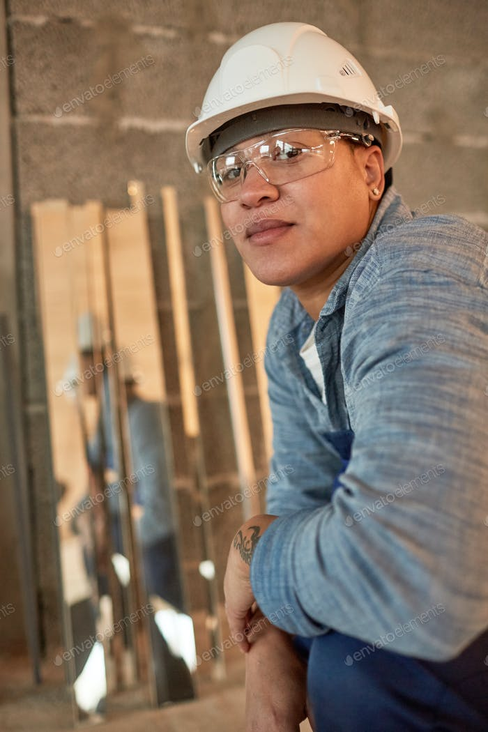 Portrait of Mixed-Race Female Worker