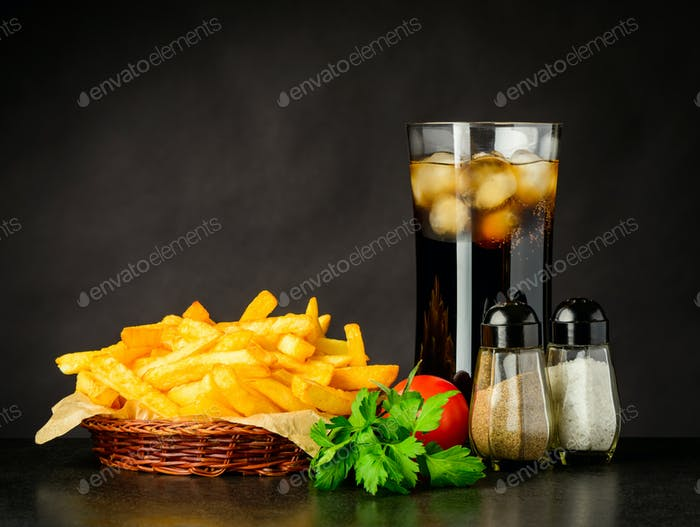 French Fries with Cold Ice Cola