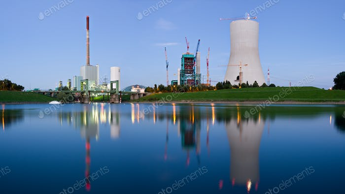 Heavy Industry Panorama With Reflection At Blue Hour