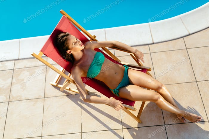 Thumbnail for Stunning brunette resting and sunbathing