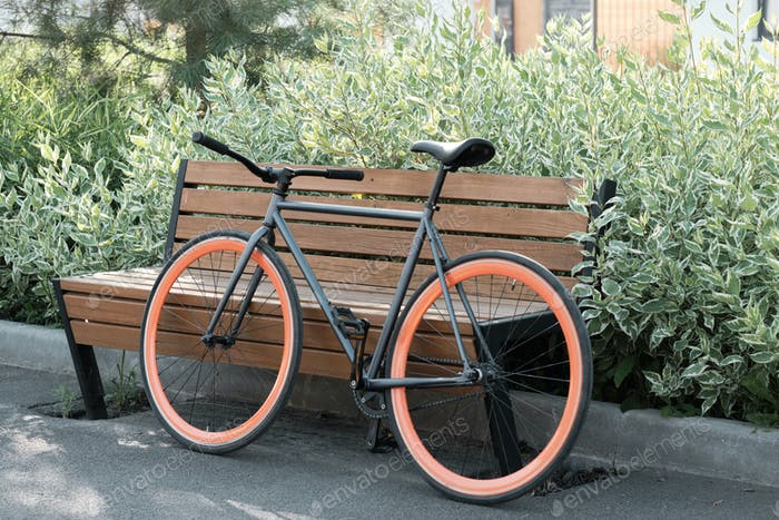 Bicycle Parked Against Bench