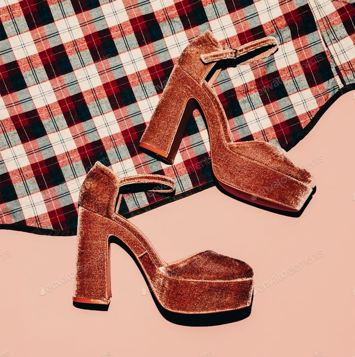 Fashion high heels and plaid shirt. Country style details. Top v