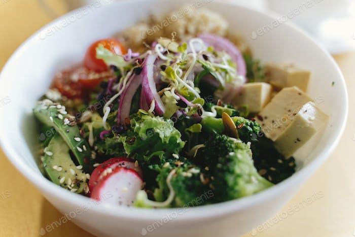 Delicious vegan meal, bowl with avocado, radish, broccoli, tofu