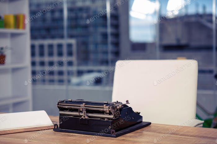 Typewriter on desk in office