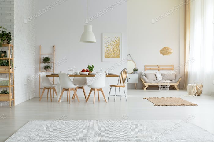 Spacious and simple dining room