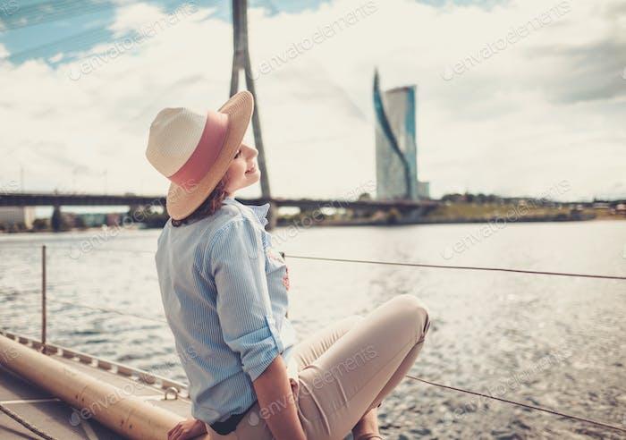 Woman enjoying ride on a yacht