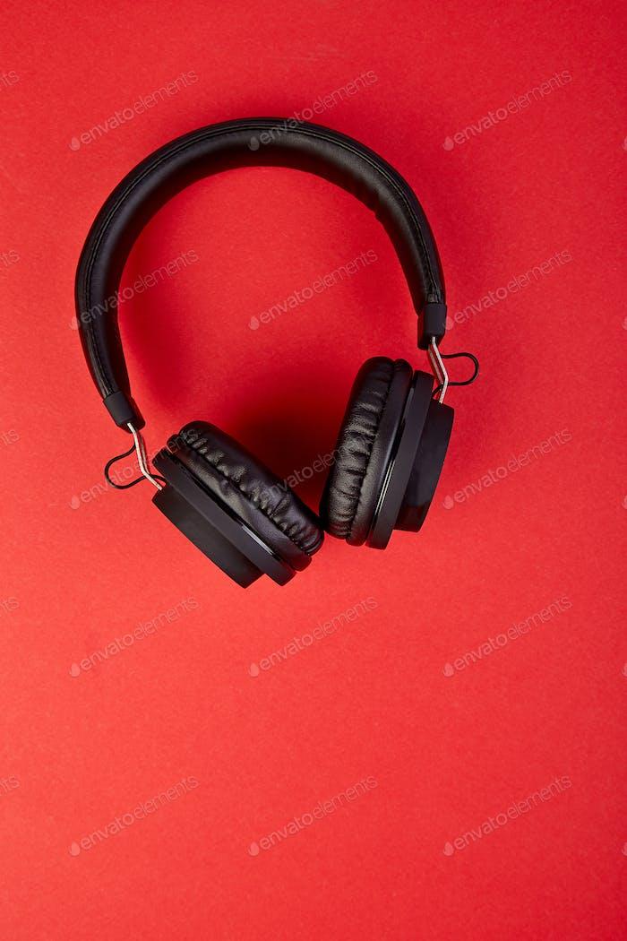 Black Headphones. Flatl lay