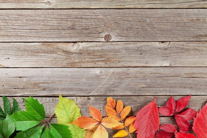 Autumn wooden background