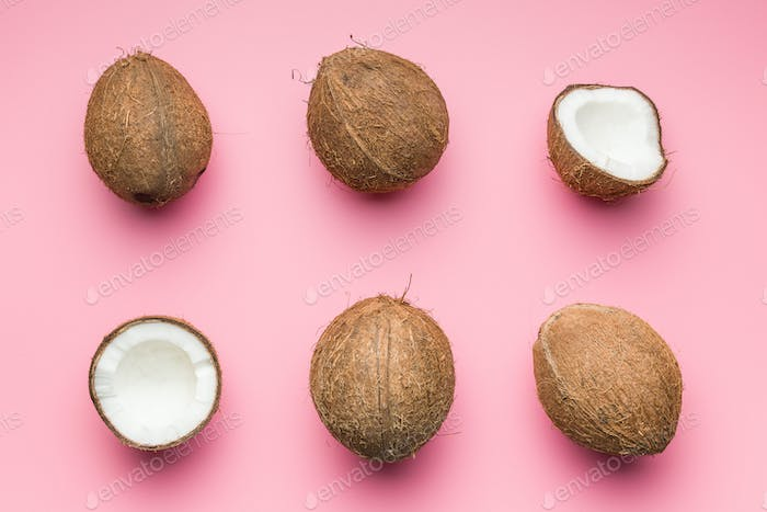 The halved coconuts.
