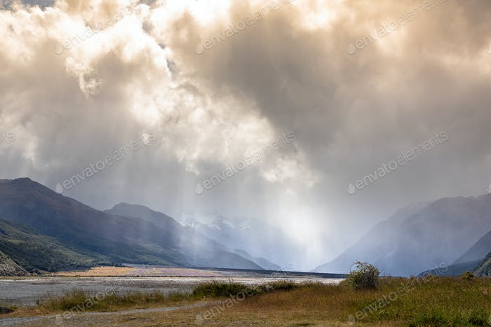 dramatic landscape scenery in south New Zealand