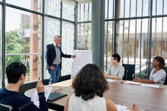 Entrepreneur conducting business training