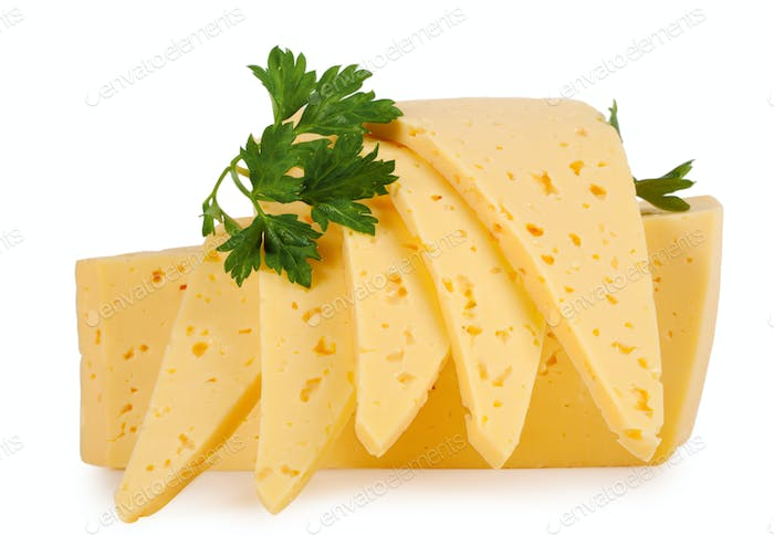 Slices of cheese with parsley