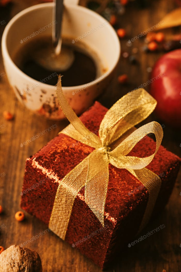 Gift box and coffee cup