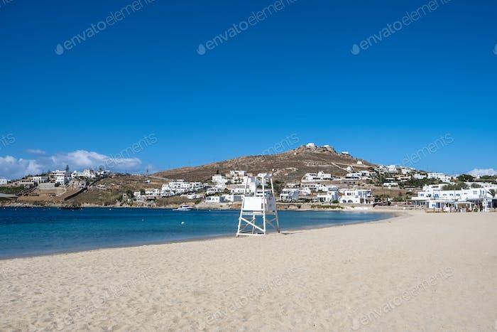 Mykonos island, Cyclades. Greece. Ornos sandy beach, summer holidays concept
