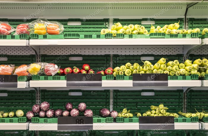 Fruits and vegetables in the supermarket