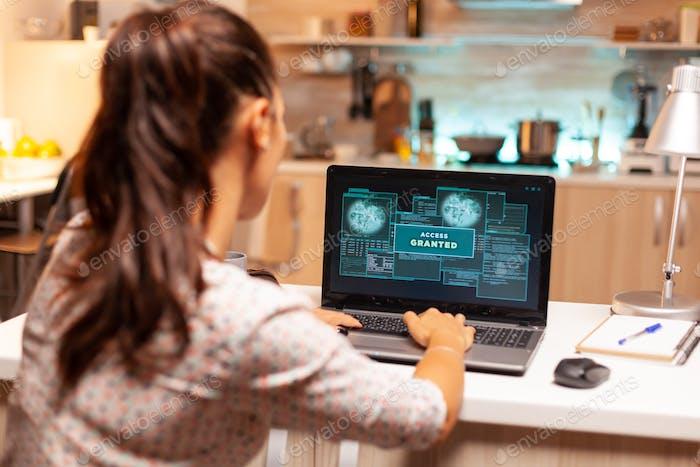 Hacker woman launching a cyberattack