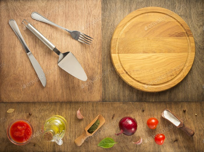 food ingredients and spices at wooden table