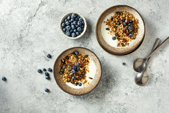 Homemade granola with yogurt and blueberry