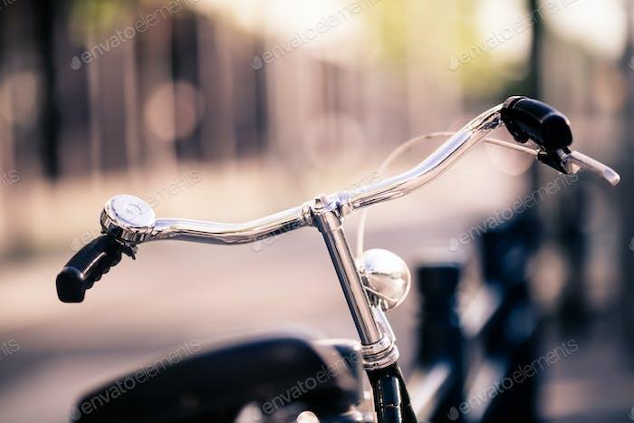 Vintage city bike colorful retro light and handlebar