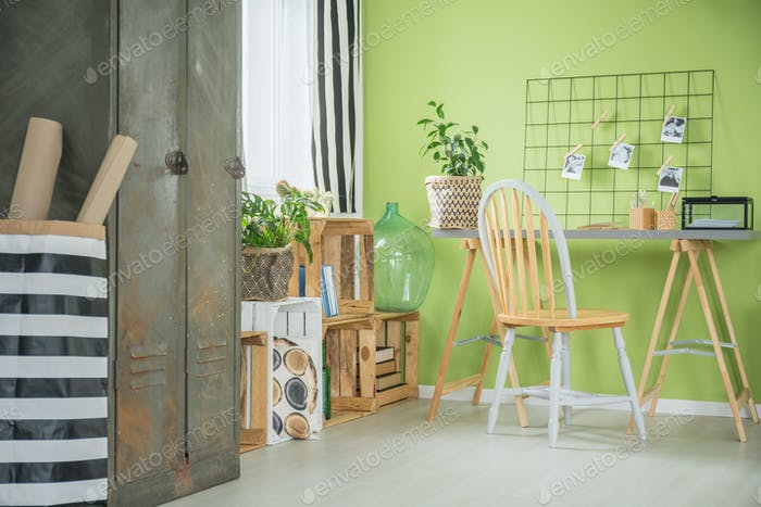Creative green room with desk