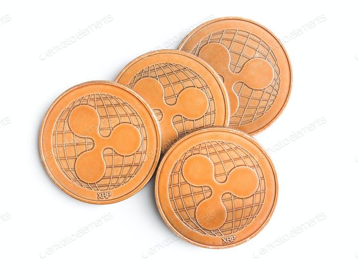 Golde monedas onduladas.