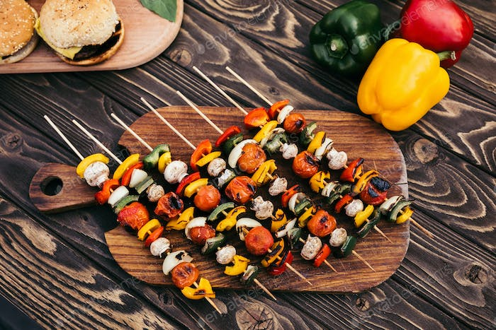 Cut Vegetables on Skewers Cooked Outdoors on Grill