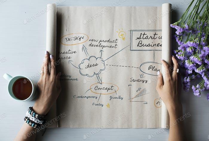 Gráfico de diagrama en un papel laminado