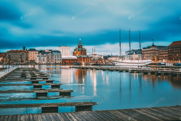 Helsinki, Finland. View Of Evening City And Uspenski Cathedral F