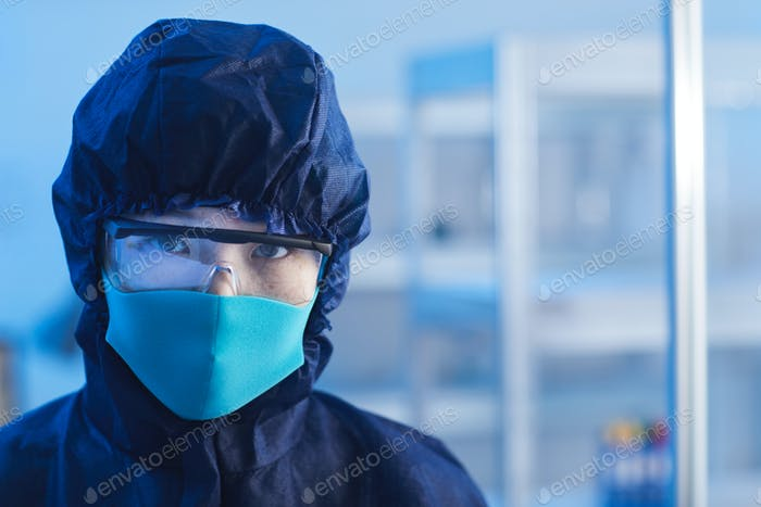 Unrecognizable Scientist In Protective Workwear