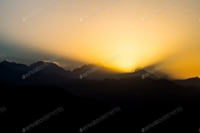 Series of breaking of dawn at the Annapurna Himalayan range, Nepal