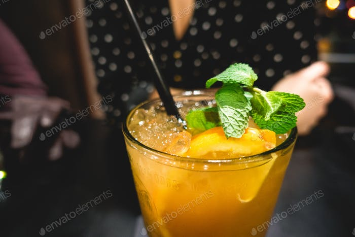 Mixed drink with orange juice