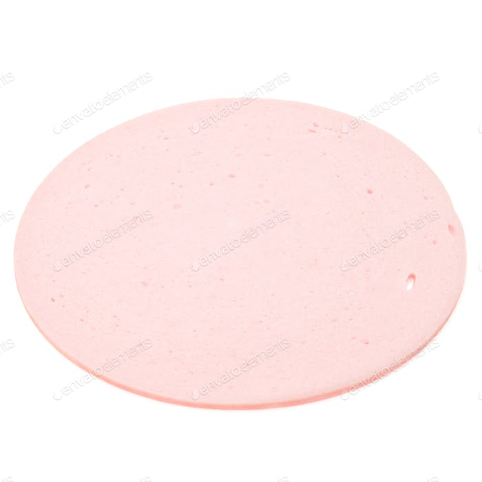 cooked boiled ham sausage or bologna slice isolated on white background cutout