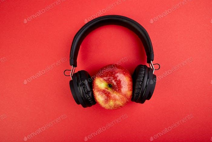 Black Headphones and apple