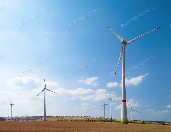 Windkraftanlagen und landwirtschaftliche Felder an einem Sommertag