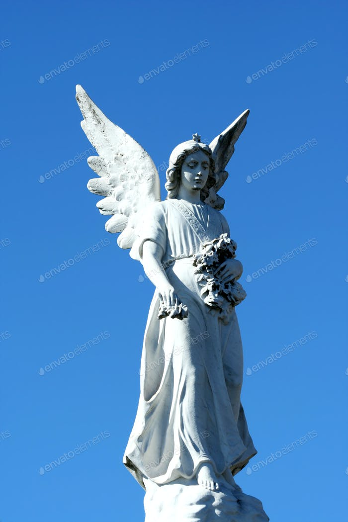 Angel statue with blue sky