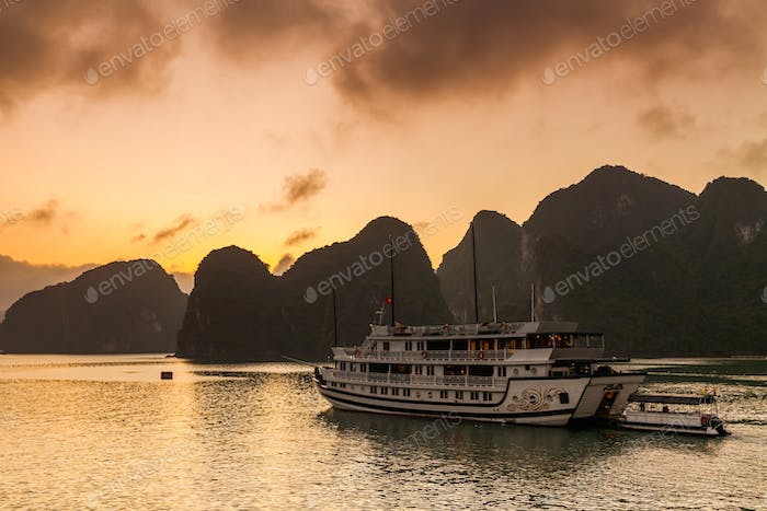 View of cruise ships and islands in Halong Bay, Vietnam