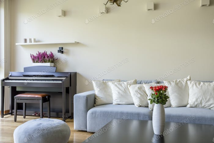Modern apartment with piano