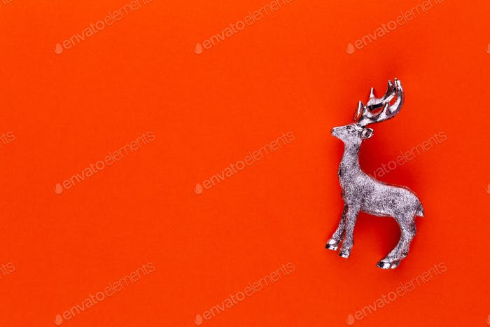 Christmas reindeer on pastel color background. Christmas or New Year minimal concept.