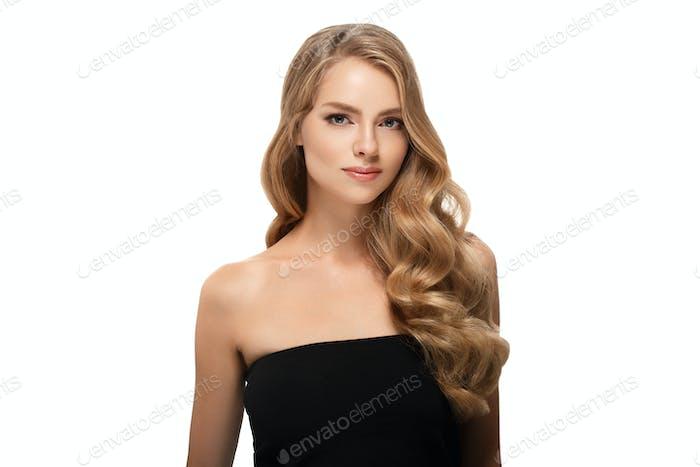 Curly blond hair woman beauty portrait