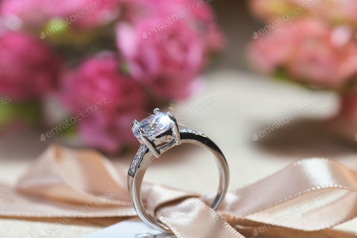 Close-up view of the diamond rings