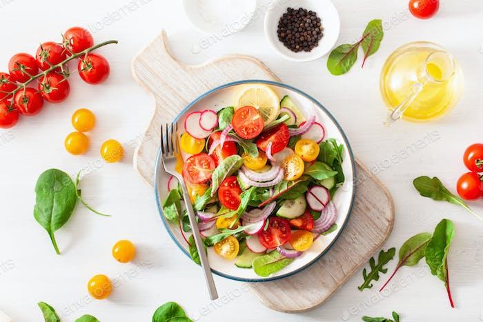 healthy colorful vegan tomato salad with cucumber, radish, onion