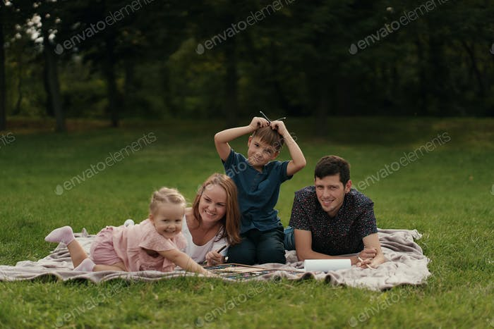 Beautiful family spends time together outdoors