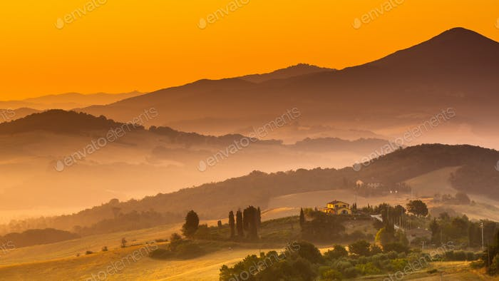 Tuscan Country during Sunrise, Italy